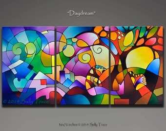 Original abstract geometric landscape painting, acrylic painting, triptych painting, geometric art, extra large wall art
