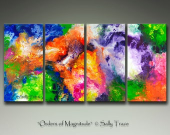 Large abstract fine art giclée on canvas print set, from my original abstract fluid paintings, large contemporary art, modern Giclée prints