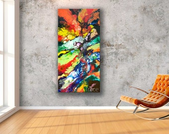 """Giclée Print on Stretched Canvas from my Original Abstract Fluid Painting, """"Geological Time"""", expressionism geology art, strata geology art"""