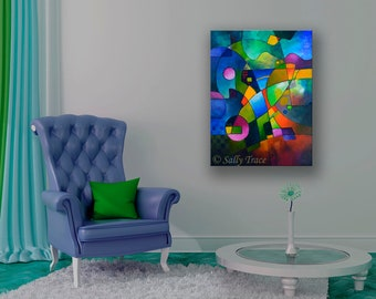 Large Abstract Art Giclee Print on Stretched Canvas, Blue Abstract Modern Canvas Print, abstract expressionism, geometric art