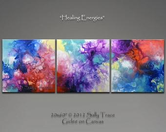 Large Colorful Modern Art Triptych Canvas Prints, Three Canvas Triptych Giclee Prints Made from my Original Fluid Art Pour Paintings