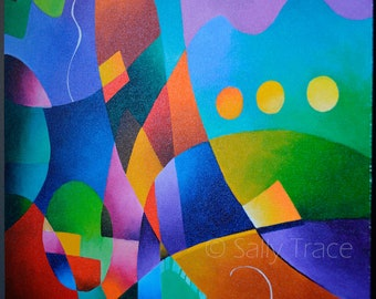 Original Abstract Fine Art Painting on Canvas, Original Geometric Art Painting, Hard Edge Painting, Colorful Original Painting on Canvas