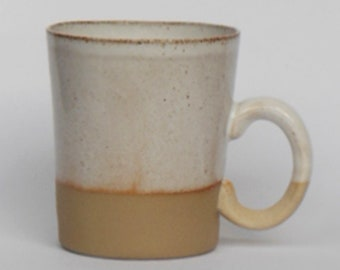 Rustic speckled white dipped Stoneware mug
