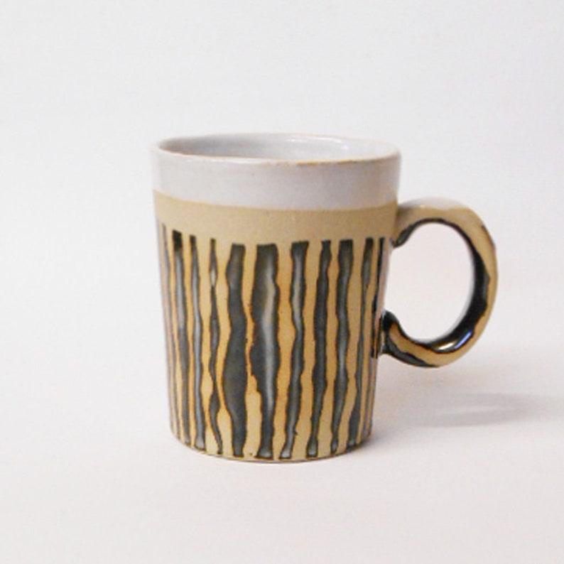 Mug Zebra striped design slip cast Stoneware