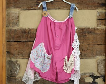 Womens Shabby Chic Tunic Top Dress Upcycled Patchwork Lagenloook  Hippie Clothes Boho Chic Clothing Country Style Mori Girl Plus size