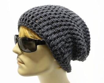 e9b20de5d44 Gray Mens Slouchy Beanie Crochet Slouch Beanie Hipster Hat Charcoal Grey  Mens Beanie