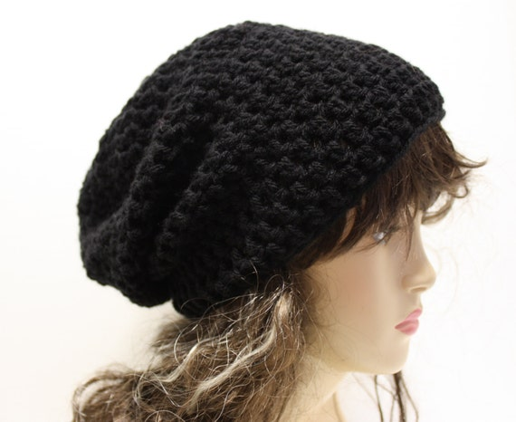 Black Slouchy Beanie Mens Black Slouch Hat Womens Slouchy Hat  63f081c54b8