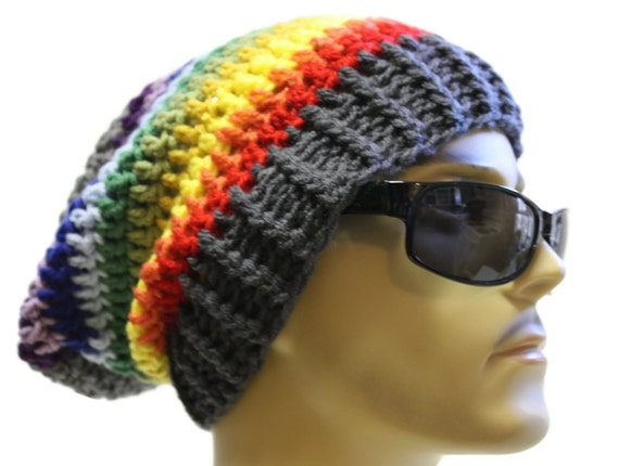 Mütze Häkeln Slouch Beanie Hipster Hut Grau Regenbogen Etsy
