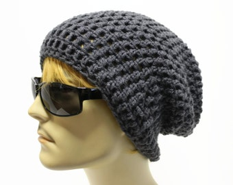 Gray Mens Slouchy Beanie Crochet Slouch Beanie Hipster Hat Charcoal Grey Mens Beanie