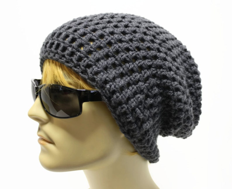 d5e0a89ee59 Gray Mens Slouchy Beanie Crochet Slouch Beanie Hipster Hat