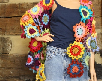 Crochet Shawl Boho Gypsy Wrap Colorful Hippie Patchwork Shawl Wrap Rainbow Flowers Custom Made to Order No Two Alike