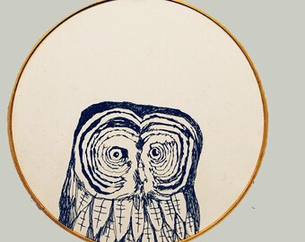 Gray Owl Freehand Machine Embroidered portrait