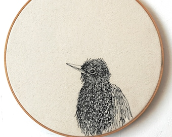 European Starling Portrait Freehand Machine Embroidered