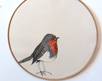 European robin Freehand Machine Embroidered Portrait