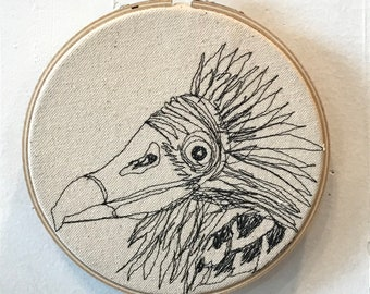 Turkey Vulture  Freehand Machine Stitched Portrait