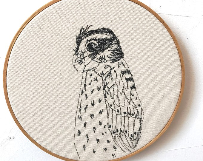 Featured listing image: Eurasian Kestrel Freehand Machine Embroidered Portrait