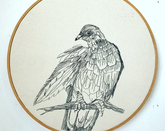 Band Tail Pigeon Freehand Machine Embroidered Portrait, hoop art, wall hanging, thread drawing