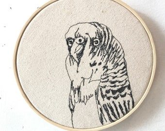 Budgerigar Freehand Machine Embroidered portrait
