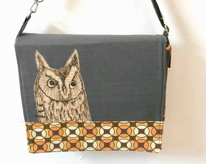 Featured listing image: Long Eared Owl  stitched drawn messenger bag with free accessory