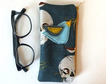 Organic Cotton Padded Zipper Fabric Eyeglass Case, Charley Harper Barkcloth, flannel lined eyeglass case