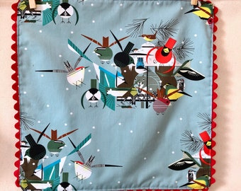 Organic Cotton, Cloth Napkins with Rick Rack, Charley Harper , holiday napkins