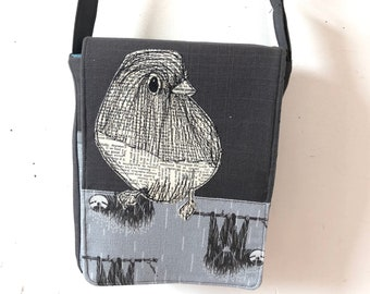Dark Eyed Junco and sloth stitched drawn tall mini messenger bag, adjustable strap , crossover bag