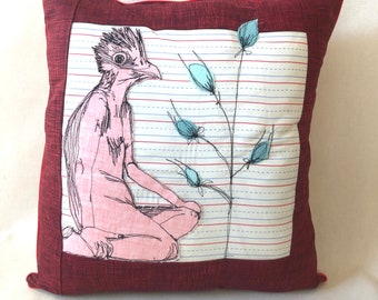 Ms.Prairie Chicken Contemplates writing a letter about her flowering Plant, decor pillow