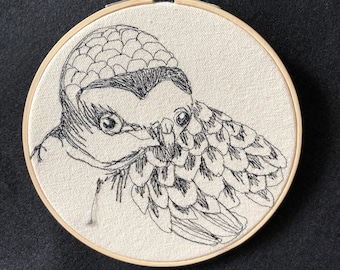 Snowy Plover  Freehand Machine Embroidered portrait