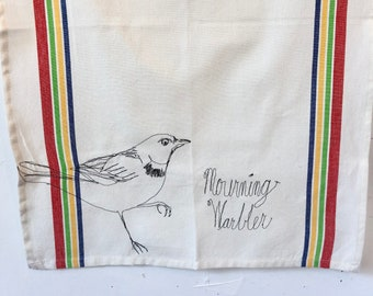 Mourning Warbler Freehand Machine Stitched Tea Towel