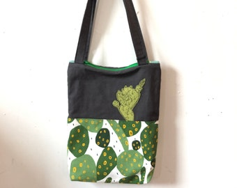 Freehand Machine Stitched felt Cactus Zipper top tote bag
