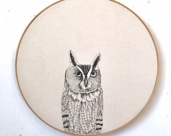 Long Ear Owl Freehand Machine Embroidered portrait, 18 inch