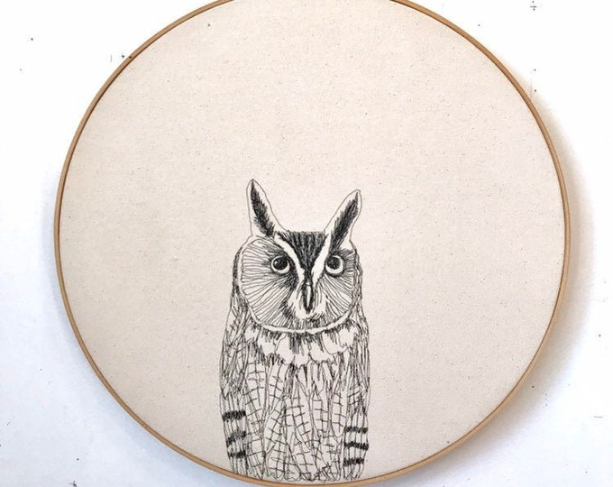 Featured listing image: Long Ear Owl Freehand Machine Embroidered portrait, 18 inch