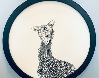 Helmeted Guineafowl Freehand Machine Embroidered Portrait
