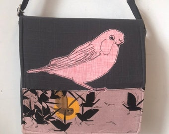 Painter Bunting stitched drawn messenger bag, adjustable strap, freehand machine stitched bird, with free accessory