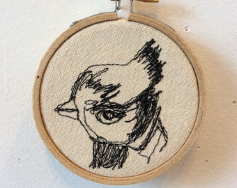 Titmouse Freehand Machine Stitched Portrait