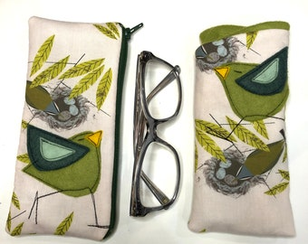Organic Cotton Padded Fabric Eyeglass Case, felt appliqué, zipper, felt lined, Charley Harper vireo