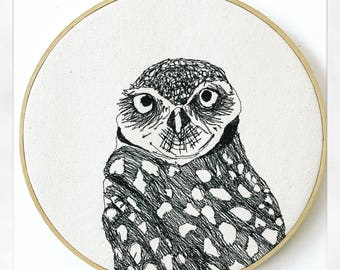Burrowing Owl Freehand Machine Embroidered Portrait