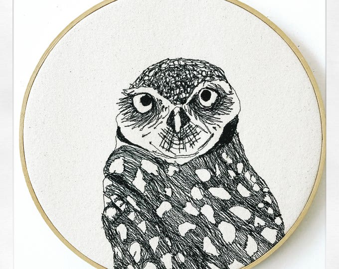 Featured listing image: Burrowing Owl Freehand Machine Embroidered Portrait