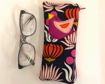 Organic Baby Wale Corduroy Padded Zipper Fabric Eyeglass Case, flannel lined eyeglass case in Native Flowers