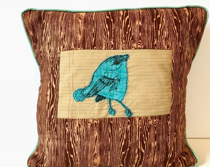 Featured listing image: Cerulean Warbler Freehand Machine Stitch Pillow