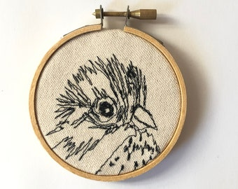 Lincoln Sparrow Freehand Machine Stitched Portrait, 3 inch,