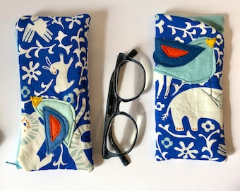 Organic Cotton Padded Fabric Eyeglass Case, Zipper pouch