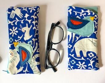 Organic Cotton Padded Fabric Eyeglass Case, Zipper pouch