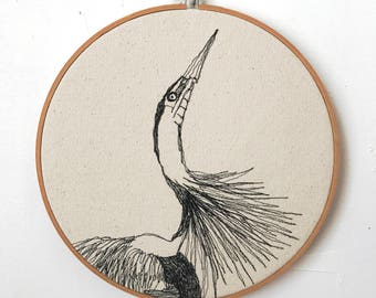 Freehand Machine Embroidered Great Blue Heron Portrait