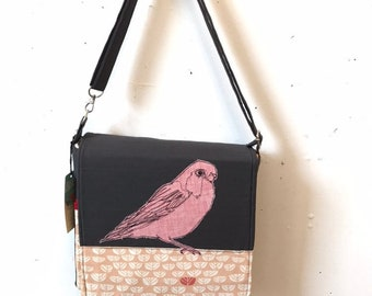 Painted Bunting freehand machine stitched drawn messenger bag, adjustable strap, freehand machine stitched bird, with free accessory