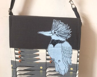 Belted Kingfisher stitched drawn messenger bag, adjustable strap, freehand machine stitched bird, with free accessory
