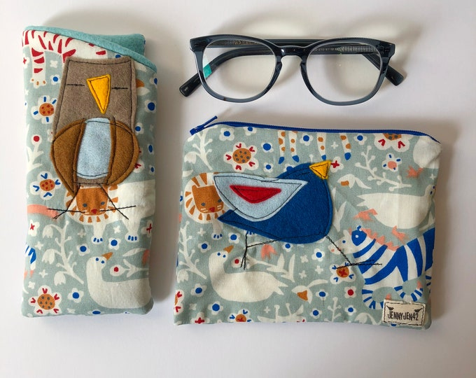Featured listing image: Organic Cotton Padded Fabric Eyeglass Case, Zipper pouch