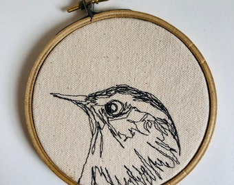 Carolina Wren Freehand Machine Stitched Portrait, 4 inch