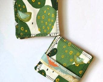 Organic Cotton Canvas Coasters, Cactus , Felt Appliqué Bird