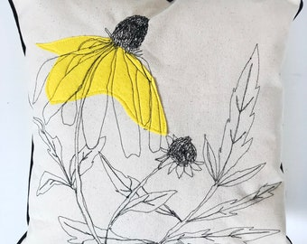 Coneflower pillow , felt appliqué , freeform sewn drawing, thread drawing , decor pillow, removable pillow, velvet back